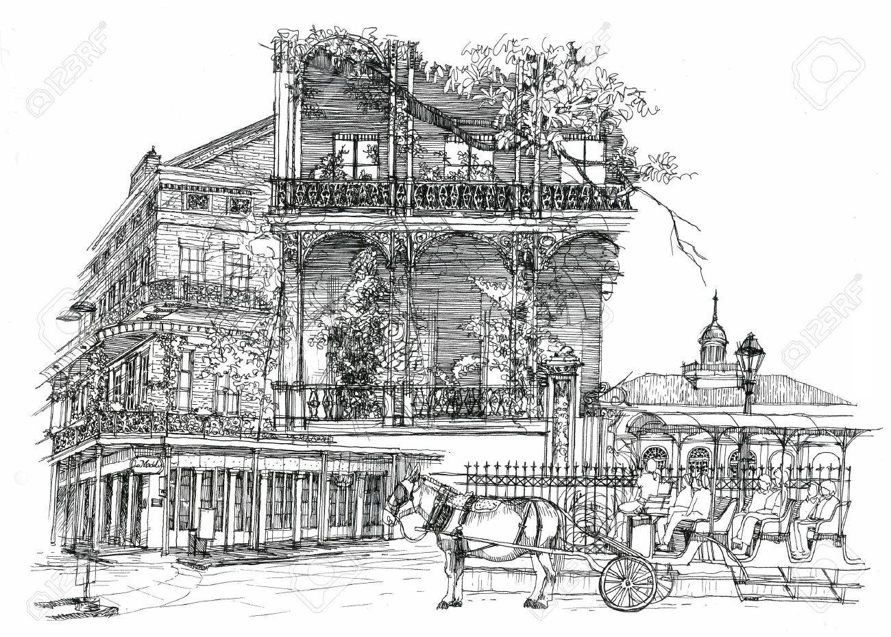 New Orleans architectural illustration drawing - 28327785