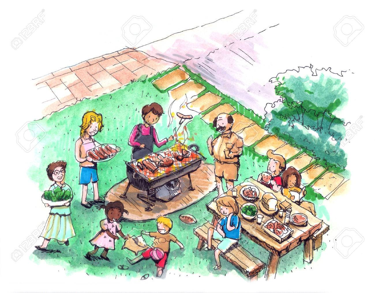 Barbecue party at the yard illustration Family and friends barbecue - 29654025