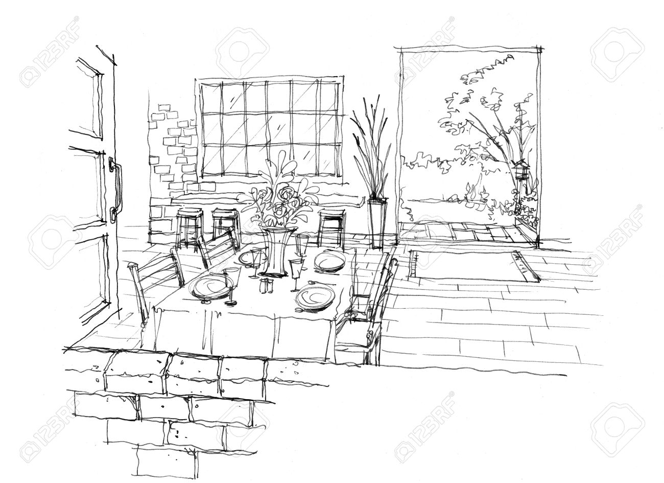 Cafe drawing interior - Cafe Coffee Shop With Brick Wall Vintage Style Decoration Interior Hand Drawing Illustration Stock