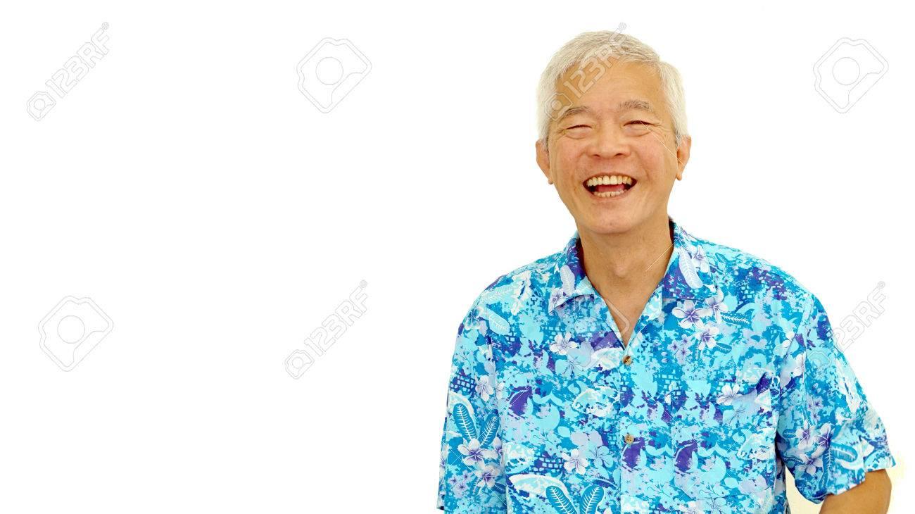 happy asian senior guy on blue hawaii shirt laughing on white isolate background - 48432539