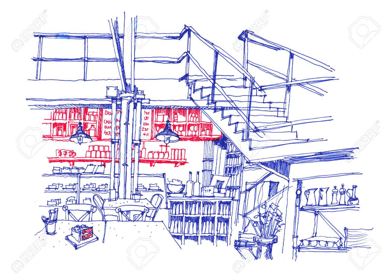 Cafe drawing interior - Stock Photo Cafe Coffee Shop Interior Line Hand Drawing Red And Blue