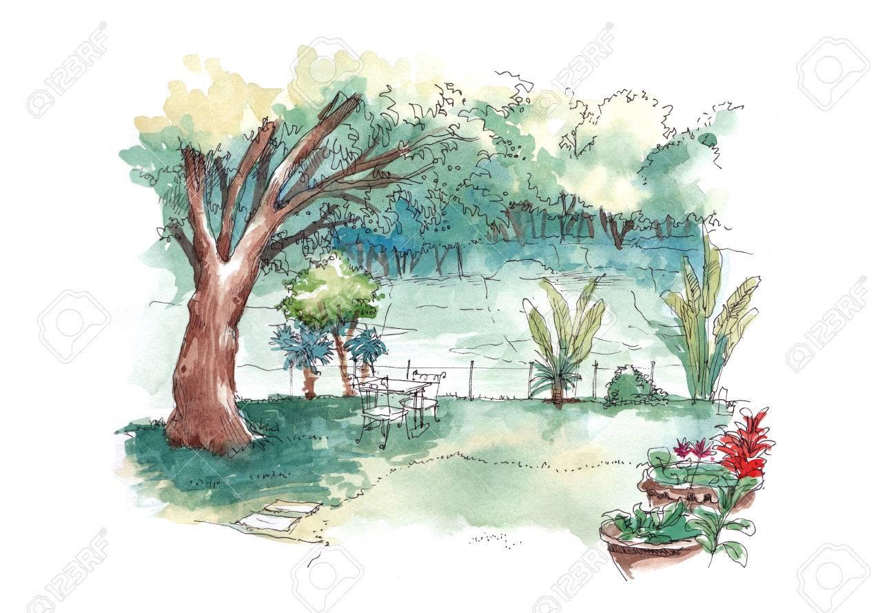 watercolour painting of green lush tropical backyard garden stock