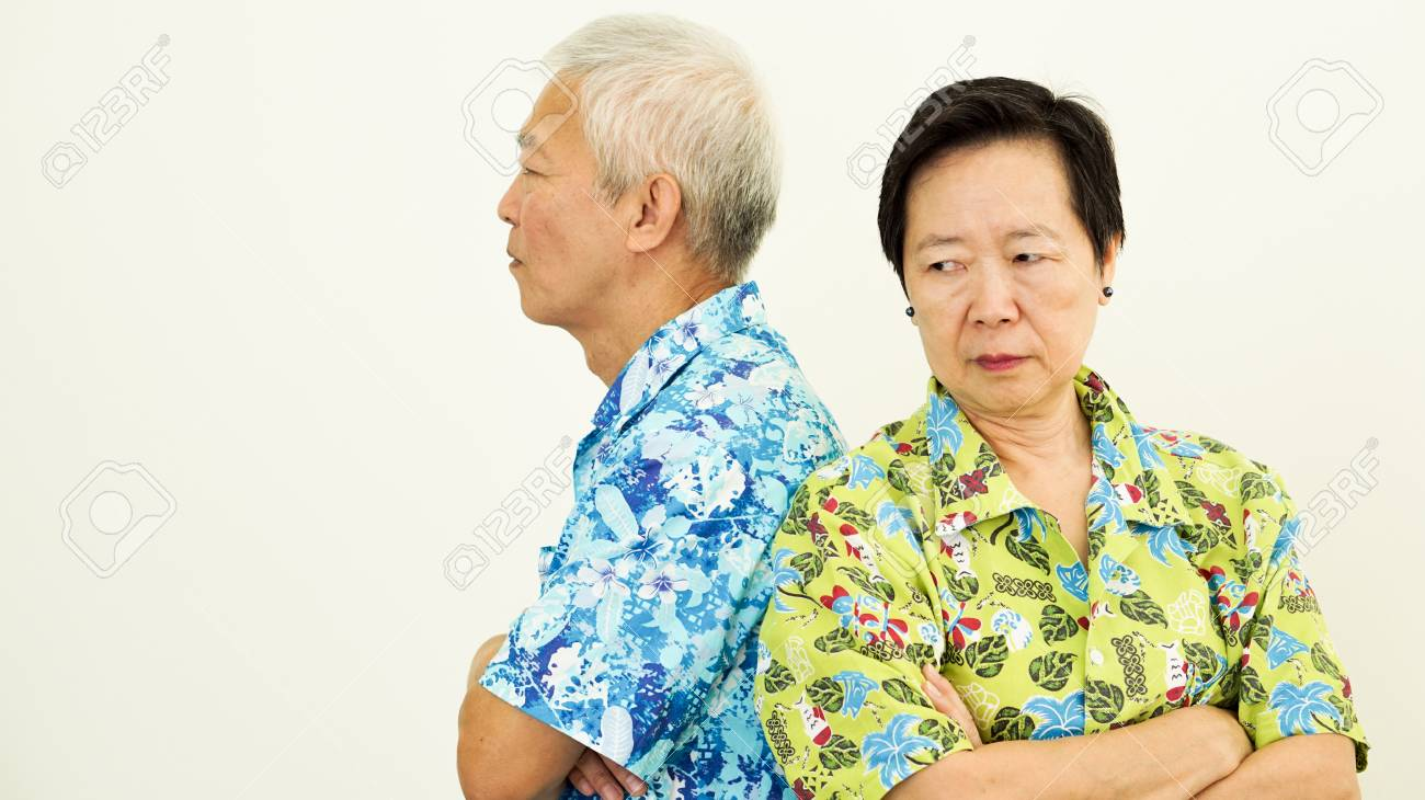 Asian senior couple unhappy, fighting. Relationship problem - 82452660