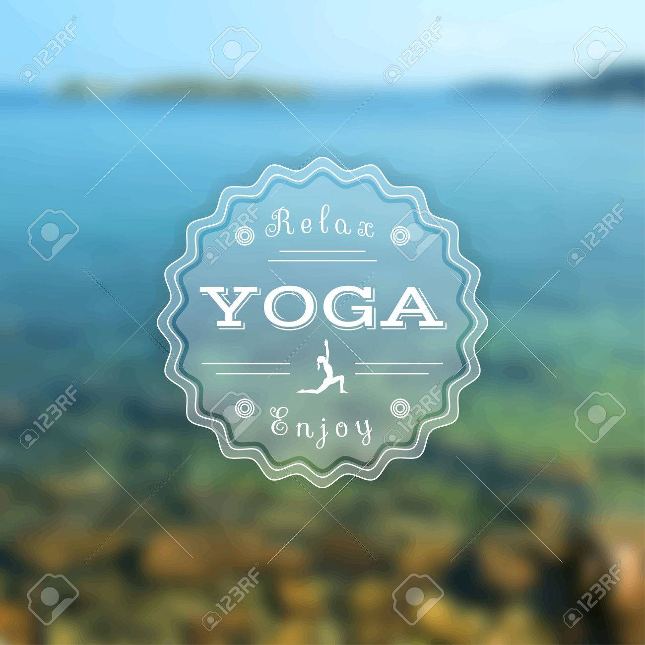 Name Of Yoga Studio On A Sunset Background Class Motto Sticker Vector Exercises Recreation Healthy Lifestyle Poster For