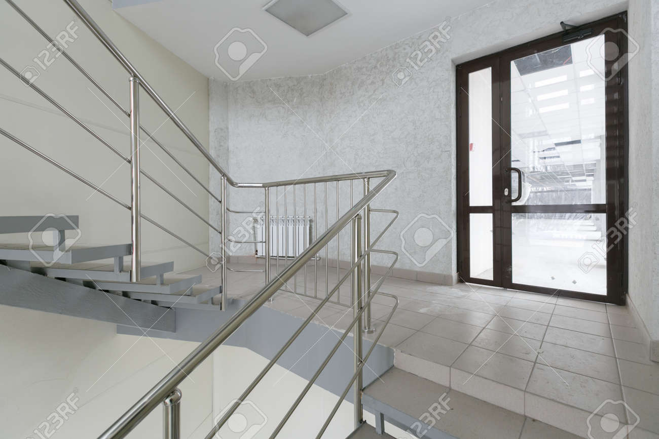 empty pure commercial office building undecorated in gray colors.open space office - 155374412