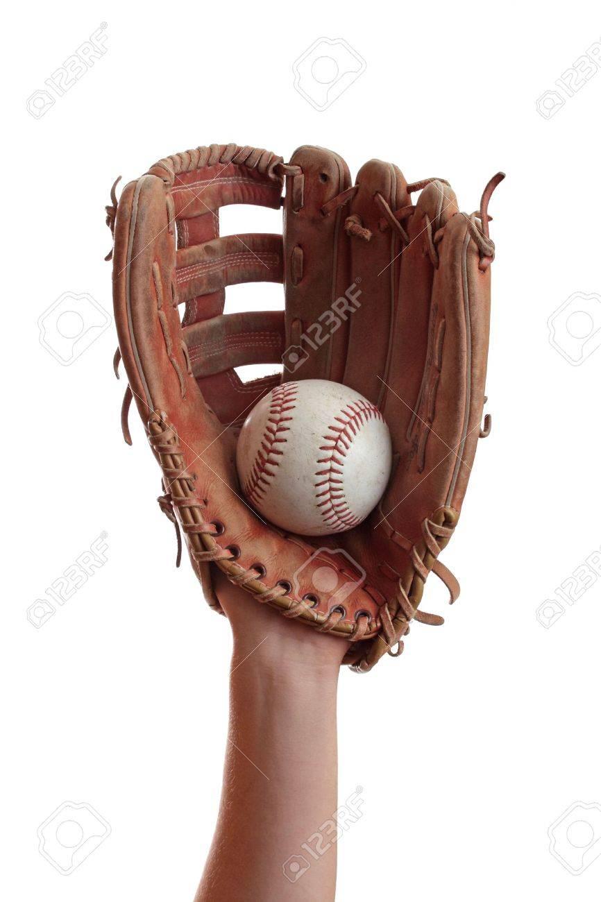 A baseball glove catches a baseball. Stock Photo - 6459433
