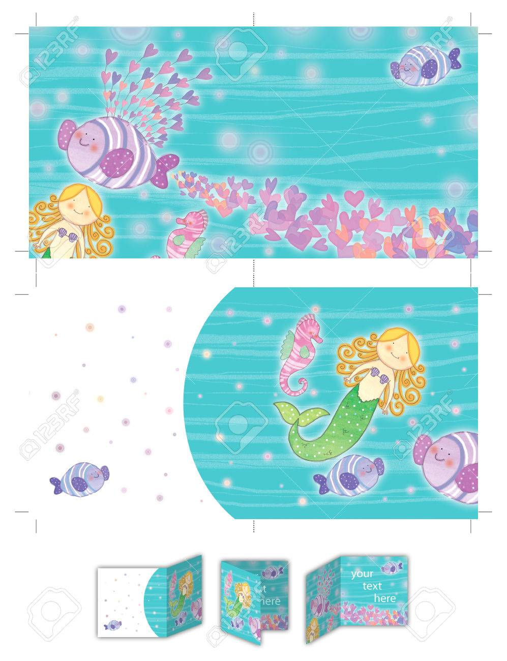 picture about Printable Layout titled Blonde minor mermaid printable design