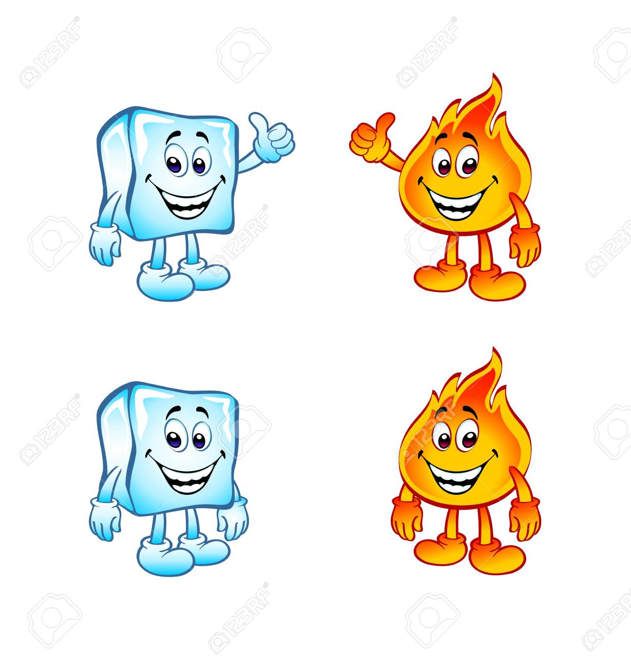 Cold And Hot Little Cartoon Figures Stock Photo Picture And Royalty Free Image Image 132483354