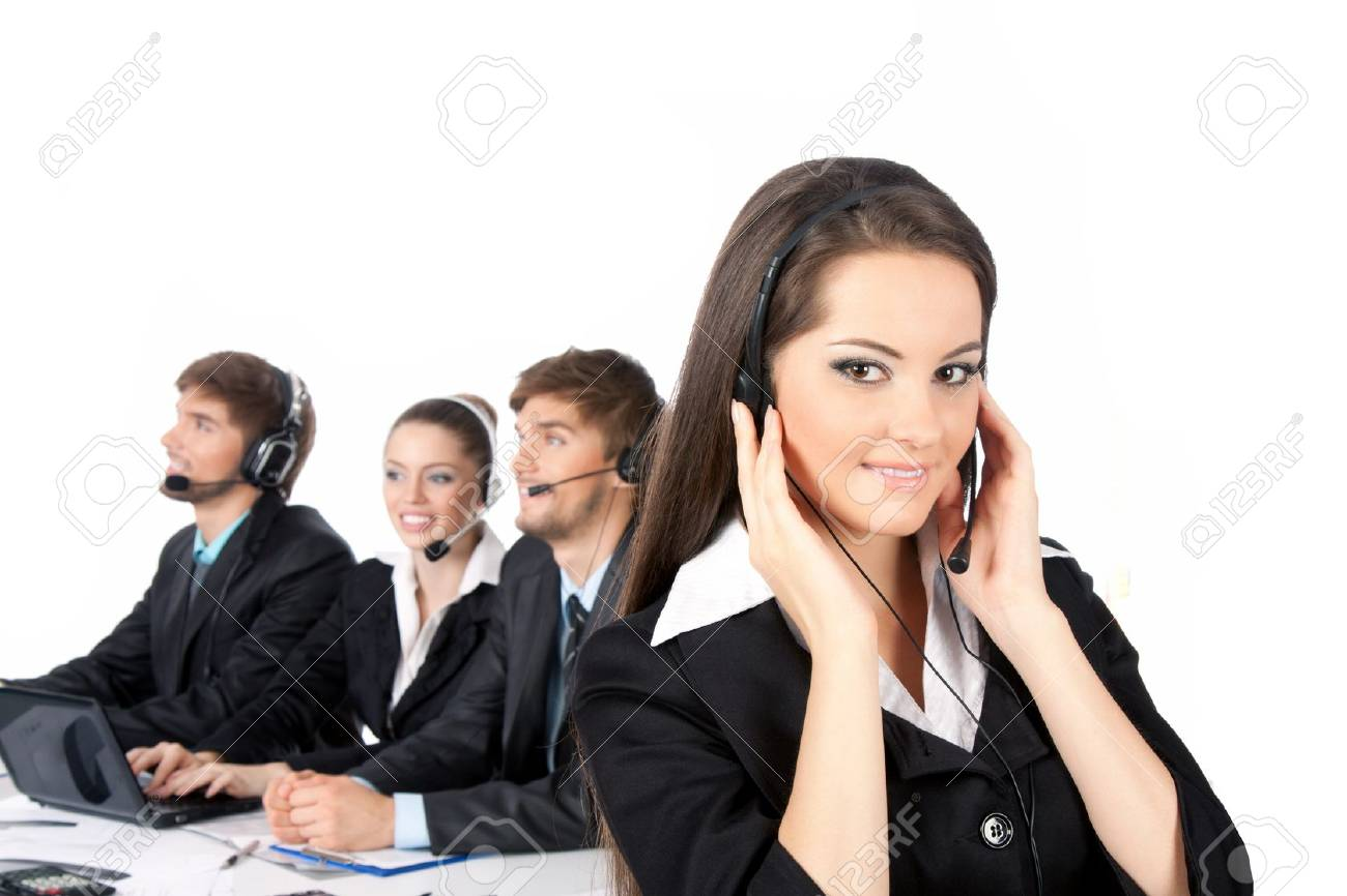 Smiling positive young businesswoman and colleagues in a call Stock Photo - 10637002
