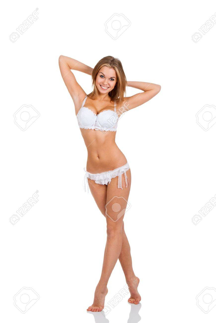 full length girl posing, white lingerie, panties Stock Photo - 12586207