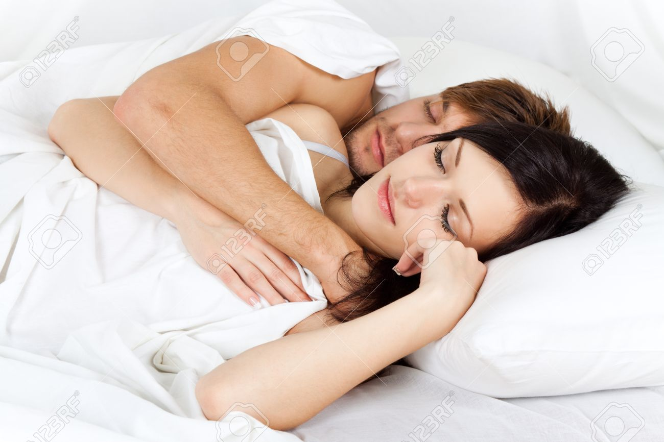 young lovely couple lying in a bed  happy sleep Stock Photo   13175778. Young Lovely Couple Lying In A Bed  Happy Sleep Stock Photo