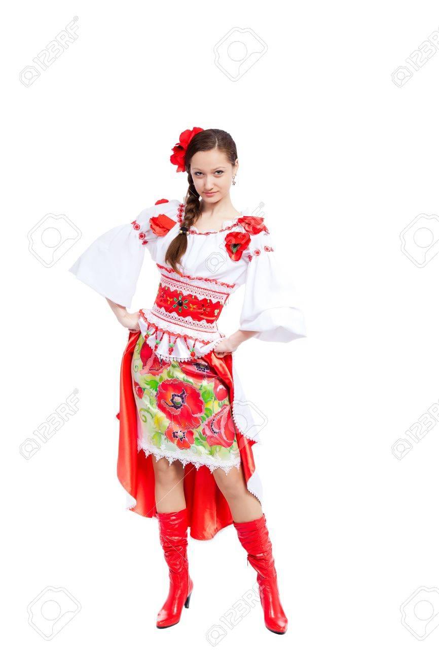 schöne mädchen in der ukrainischen nationalen polnischen traditionelle  kleidung