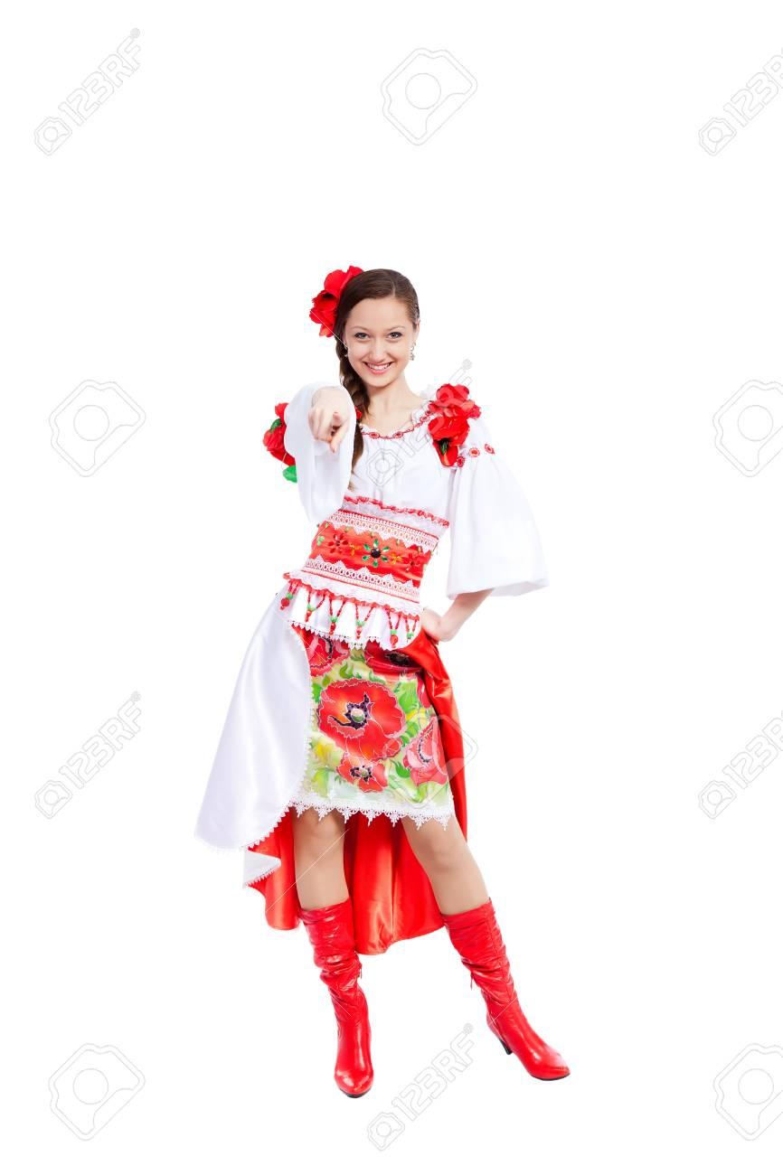 beautiful girl in ukrainian polish national traditional clothes Stock Photo - 13243056