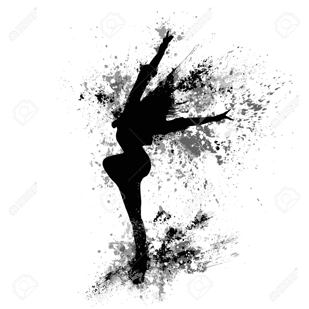 Dancing Girl Black Splash Paint Silhouette Isolated White Stock Vector