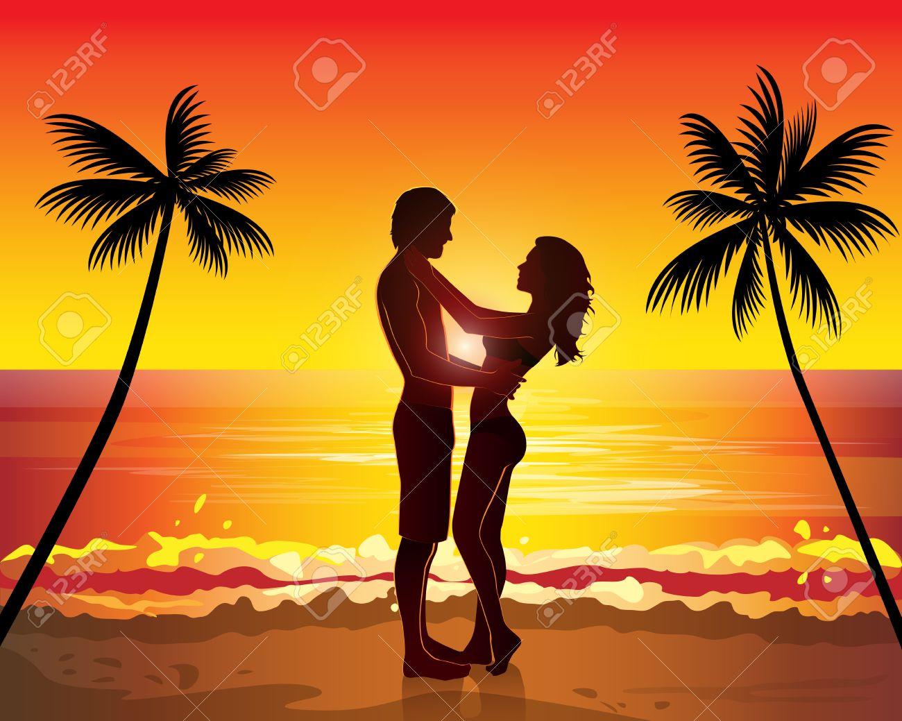 Romantische paar küssen, sonnenuntergang exotischen palmen baum ...