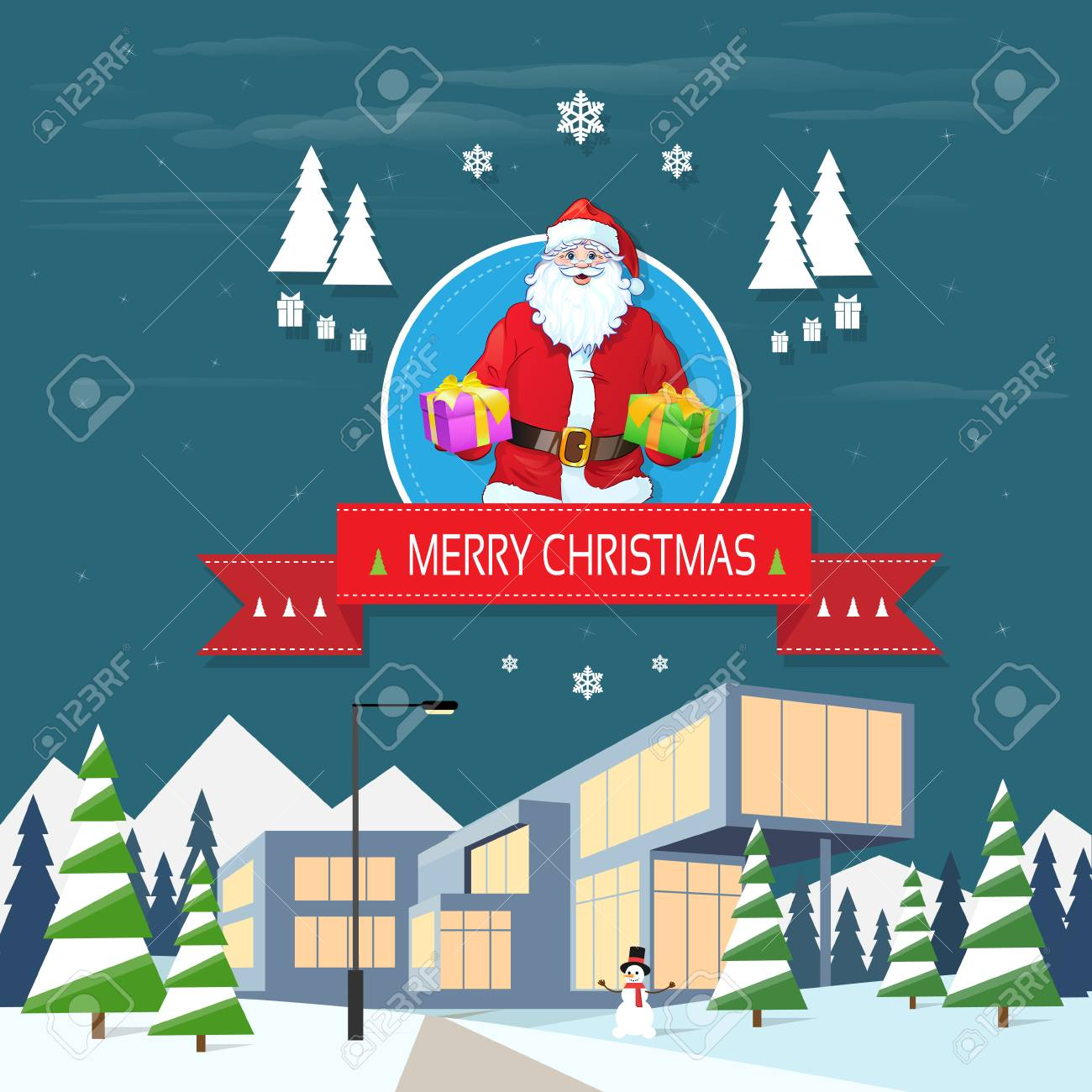 Santa claus on christmas greeting card holding gift box royalty free santa claus on christmas greeting card holding gift box stock vector 33948153 m4hsunfo