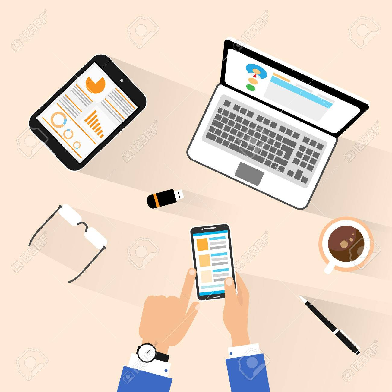 Arbeitsplatz büro schreibtisch Geschäfts Verwendung Telefon Am Arbeitsplatz Oben Oben Blick ...