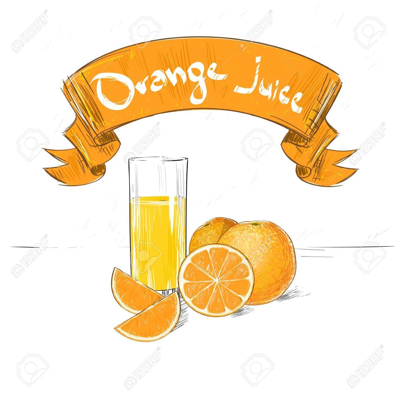 Oranges Jus De Fruits D Agrumes Avec Croquis De Verre Dessin Avec Le Texte Bannière