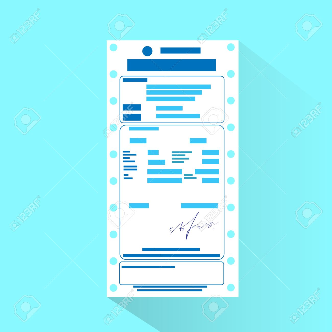 Financial Bill Document, Invoice Order Payment Check Flat Design Stock  Vector   37887417  Check Invoice