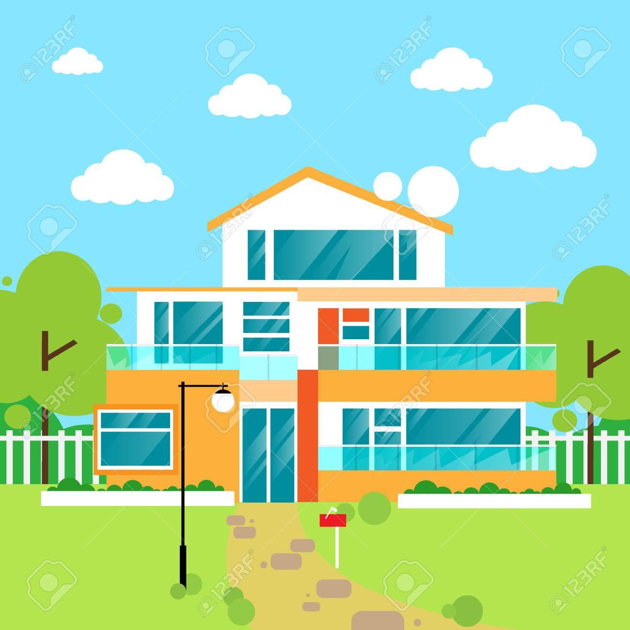 Große Moderne Villa Haus Wohnung Design Vektor Lizenzfrei Nutzbare ...