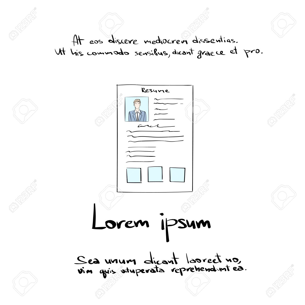 Curriculum Vitae Document Hand Draw Resume Cv Profile Icon Vector
