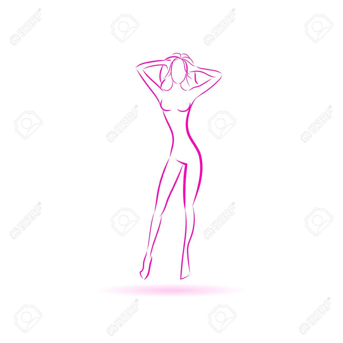 Weiblicher Körper-Logo-Rosa-Symbol Vector Illustration Lizenzfrei ...