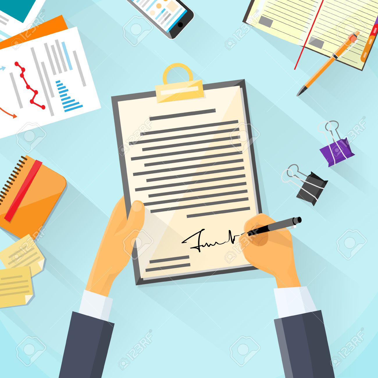 Business Man Signature Document Signing Up Contract Businessman