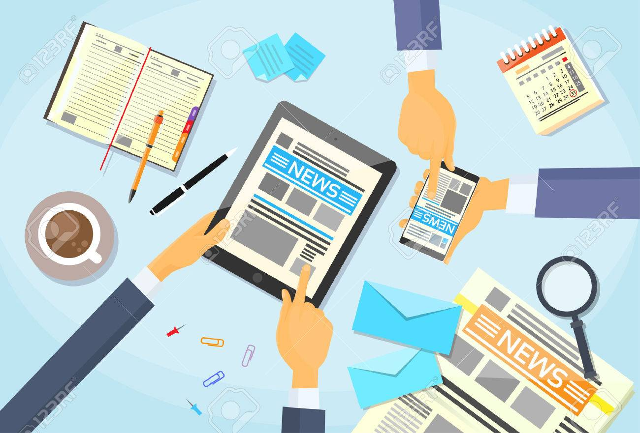 Business People Reading Newspaper while using tablet - 42477284