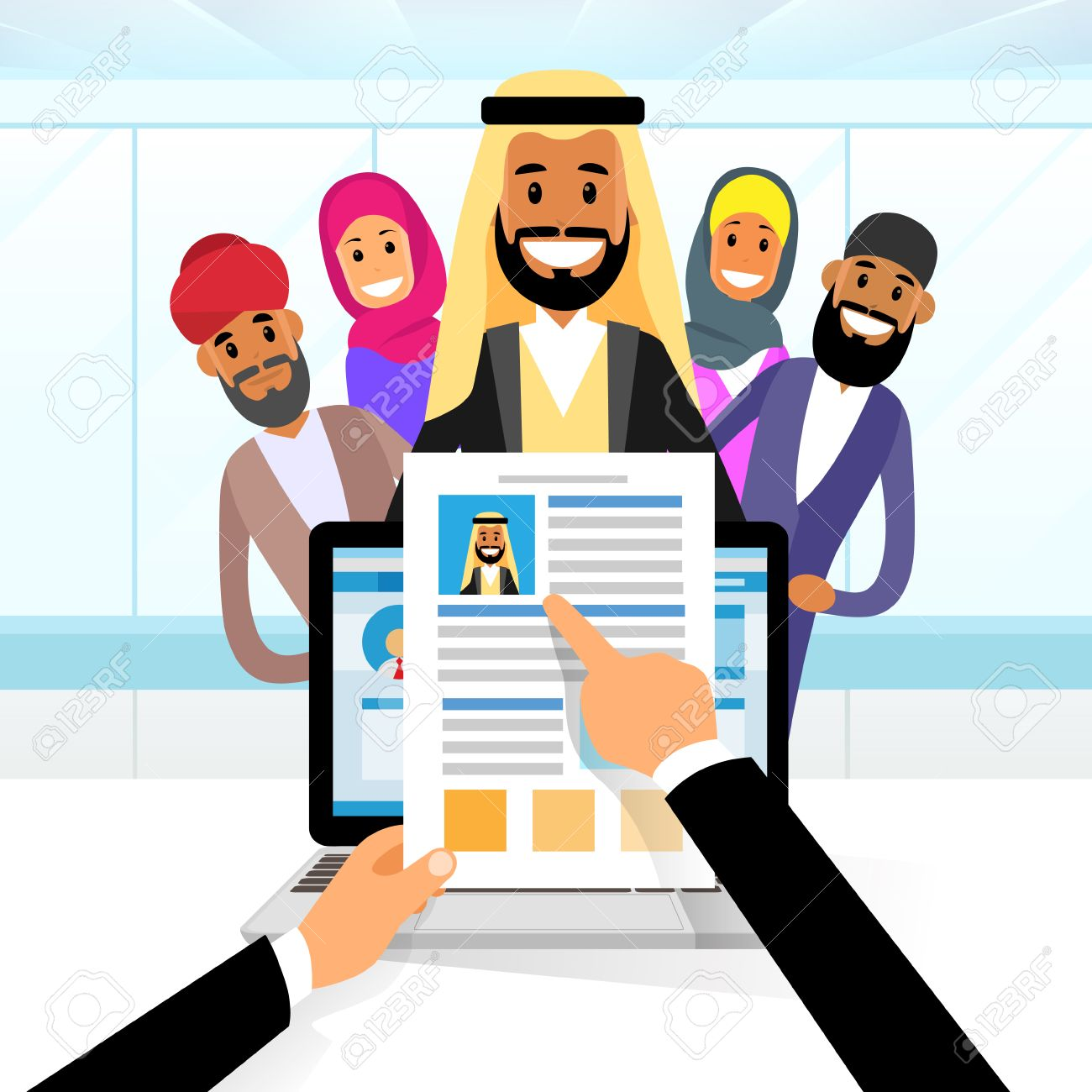 arab curriculum vitae recruitment candidate job position hands hold cv profile choose from arabic group