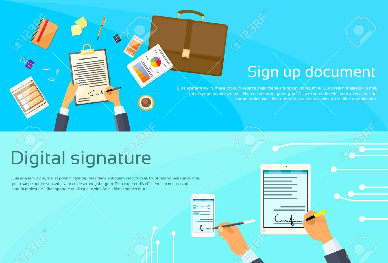 Contract Sign Up Paper Document Businessman Agreement Digital ...