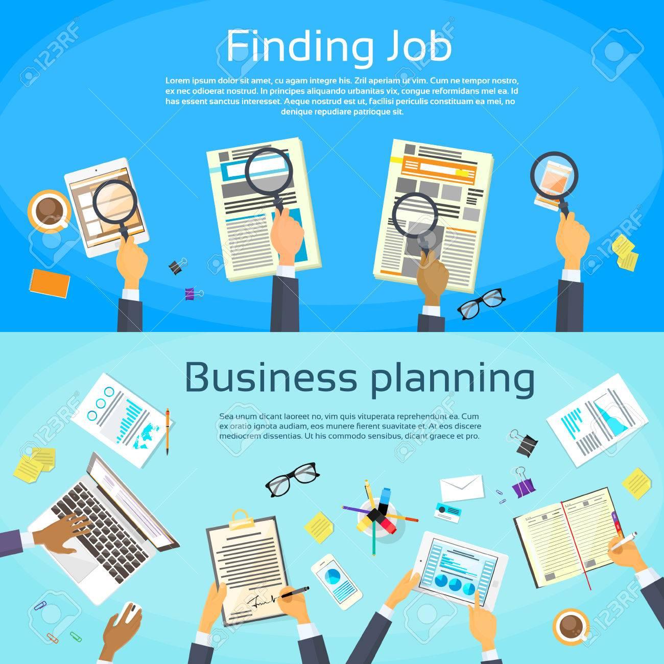 business planning searching job web banner flat vector business planning searching job web banner flat vector illustration stock vector 43917113