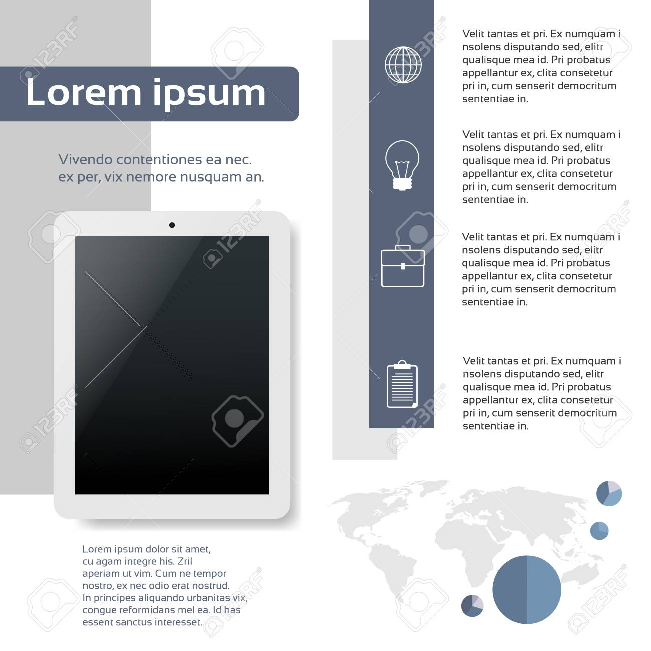 tablet infographics web page layout template design flat vector