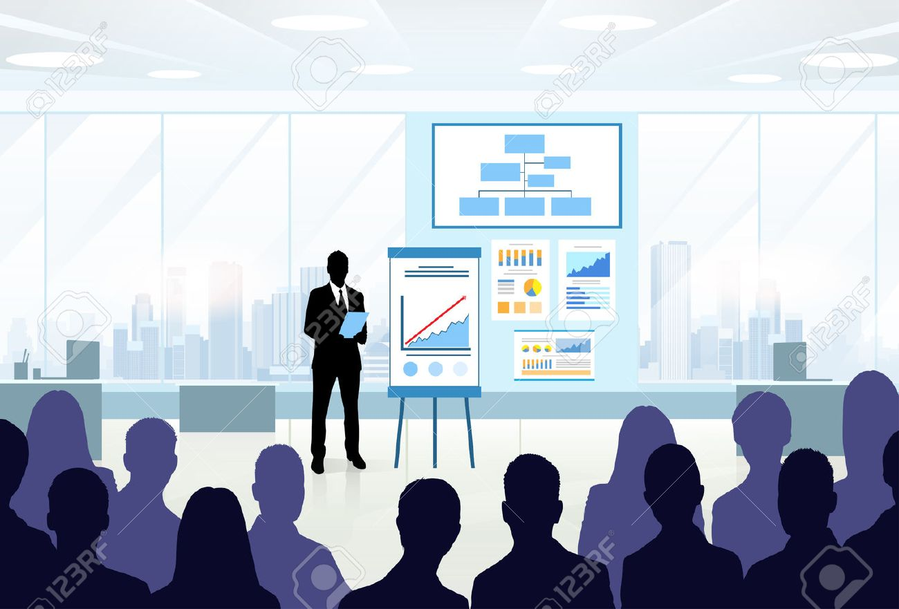 Business People Group Silhouettes at Conference Meeting Flip Chart with Graph Vector Illustration - 44108721