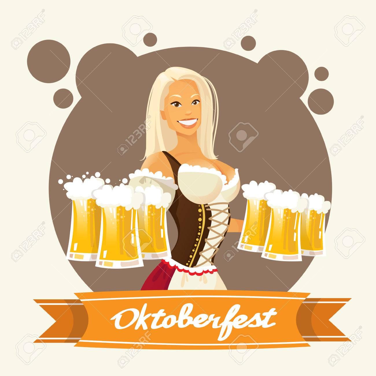 Oktoberfest Festival Mädchen Halten Bierkrug Brille Wohnung Vector Illustration