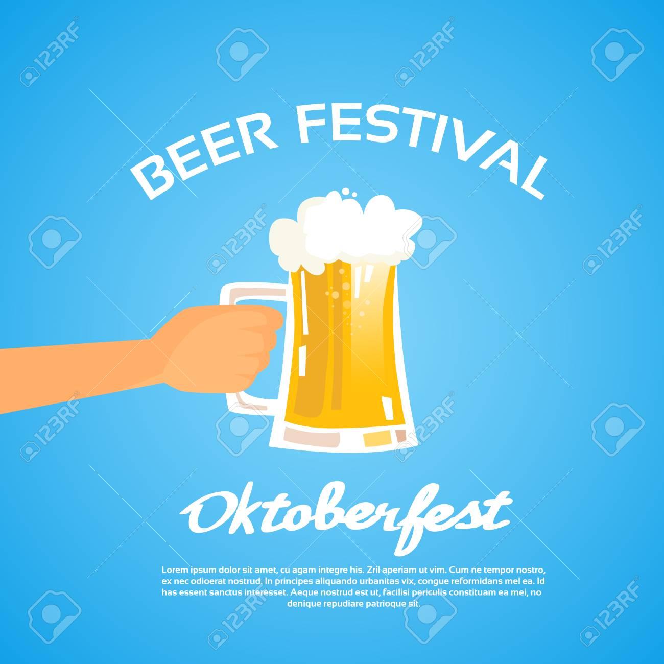 Oktoberfest Handeinfluß Becher Glas Bier Wohnung Vector Illustration