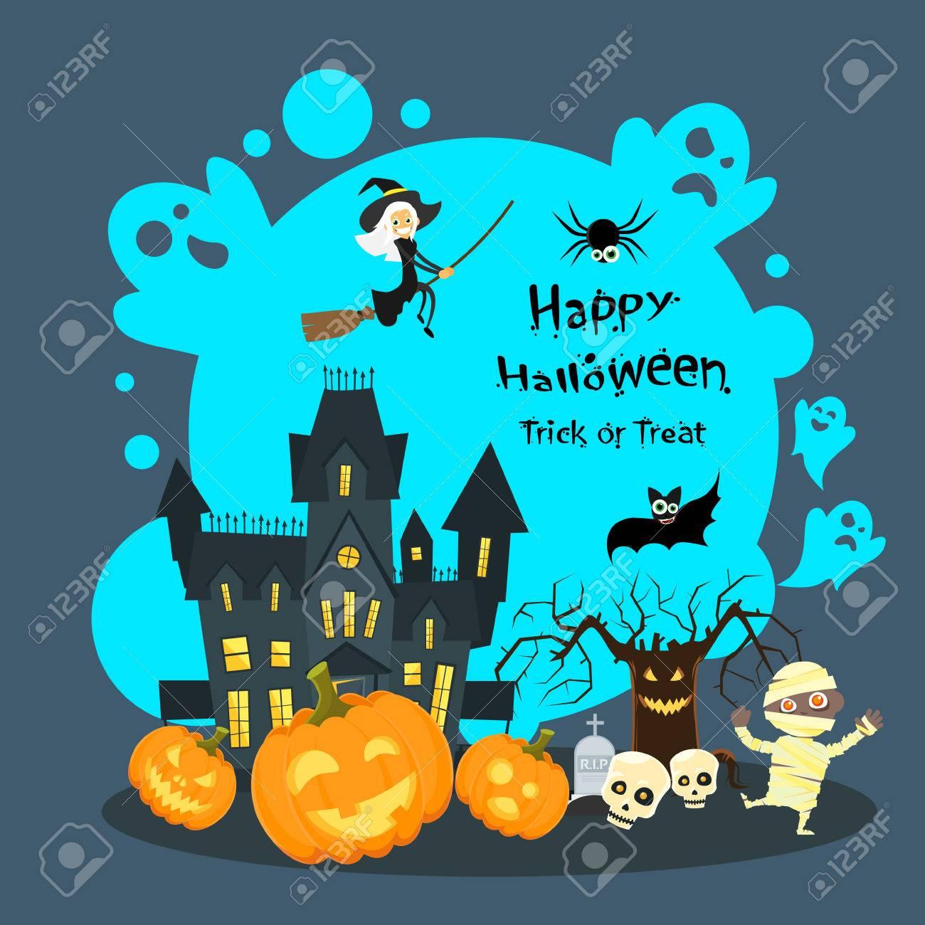 Halloween House Ghost Pumpkin Face Party Invitation Card Flat