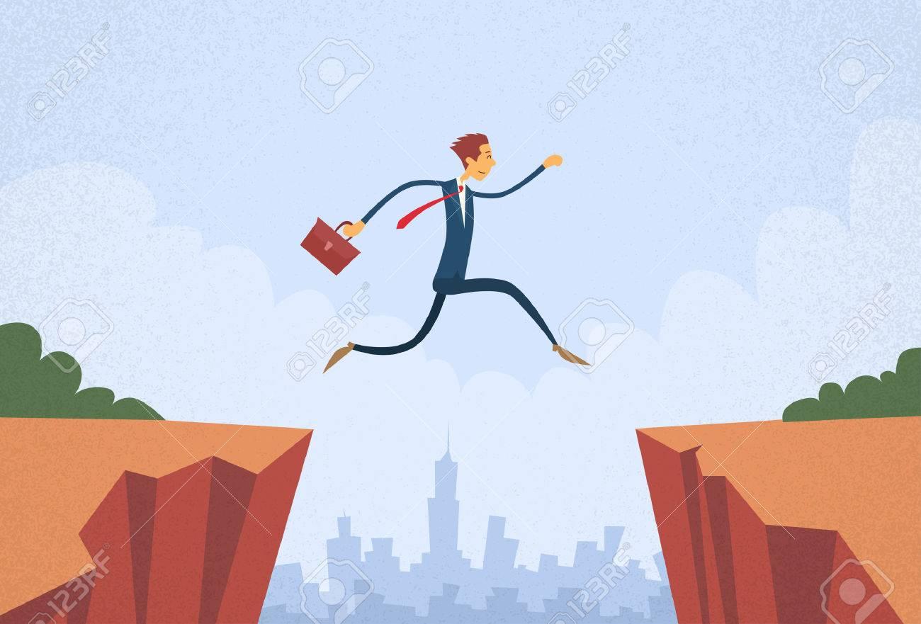 Businessman Jump Over Cliff Gap Mountain Flat Retro Vector Illustration - 46913670