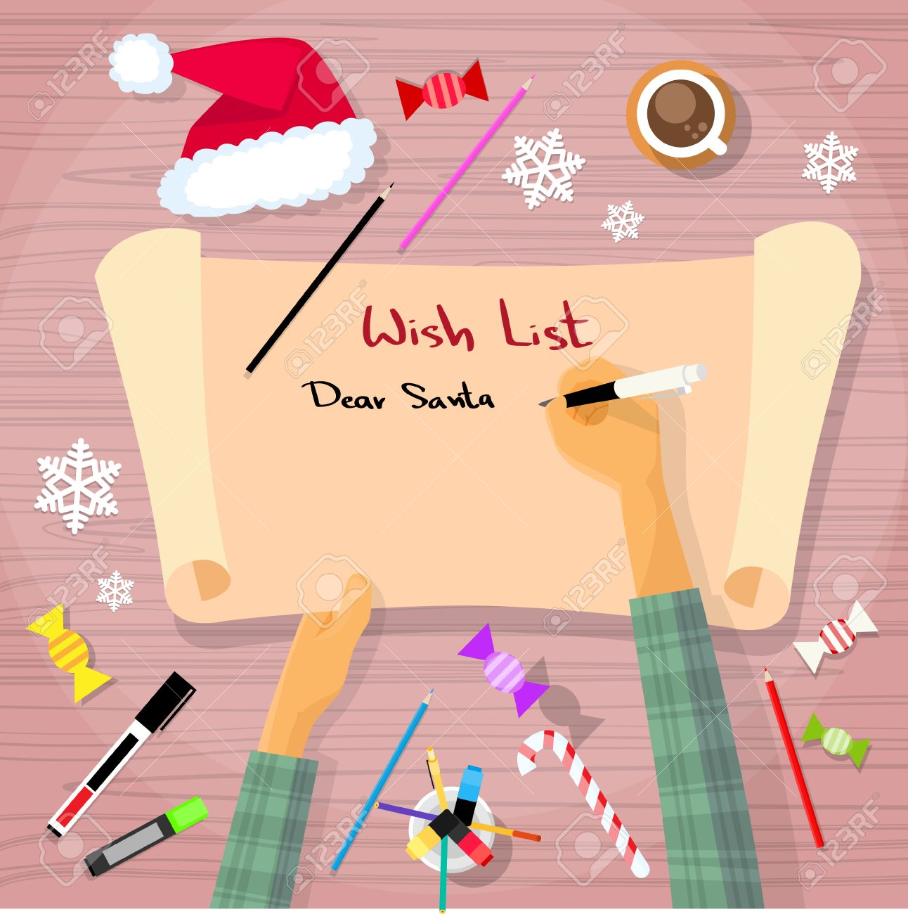 Merry Christmas Wish List To Santa Clause Child Hand Writing Pen On Paper  Desk Flat Vector  Christmas Wish List Paper