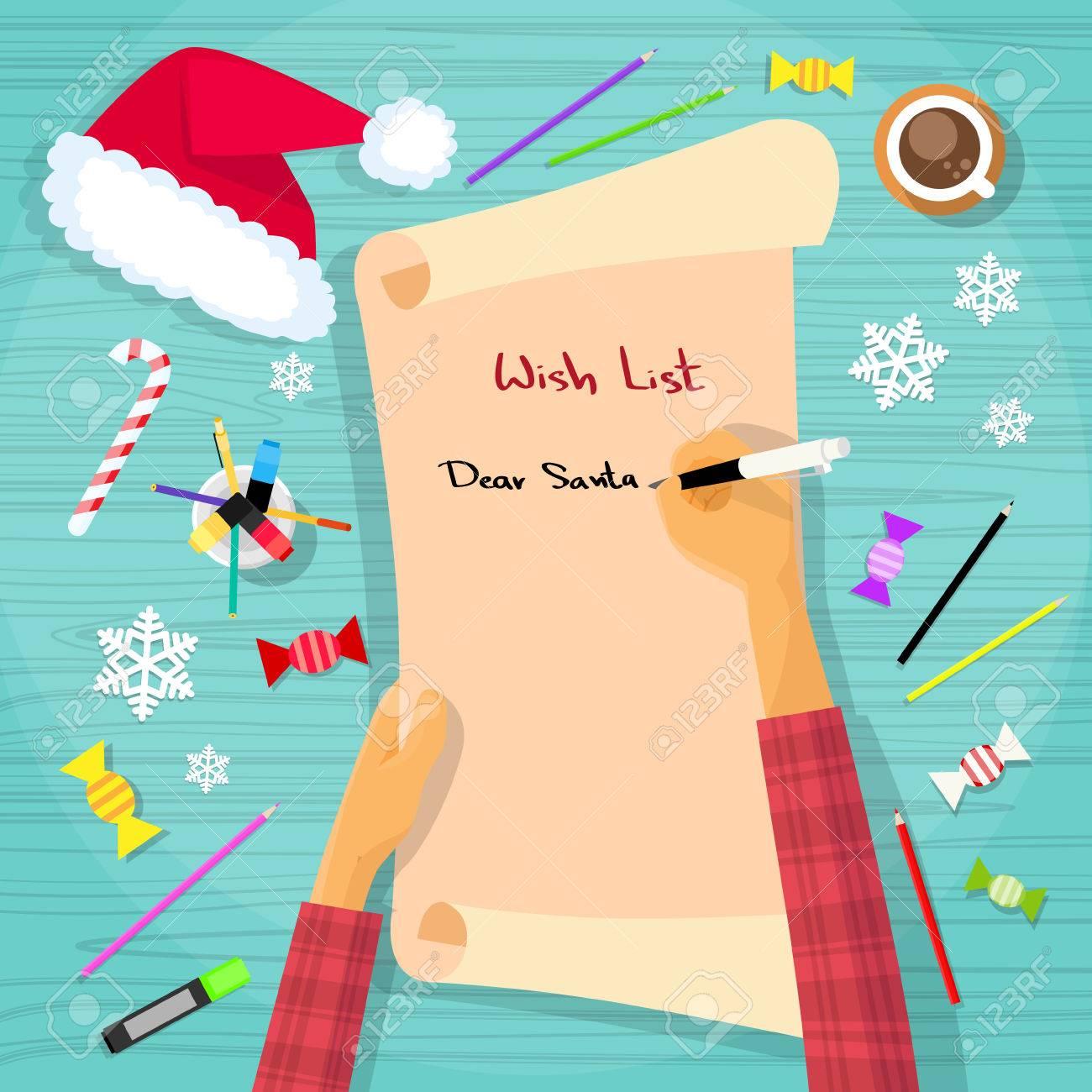 Merry Christmas Wish List To Santa Clause Child Hand Writing – Christmas Wish List Paper