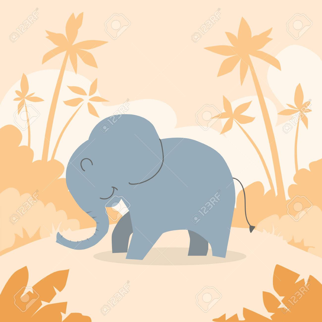 Dibujos Animados Elefante Africano Colorido Ilustración Plano Retro ...