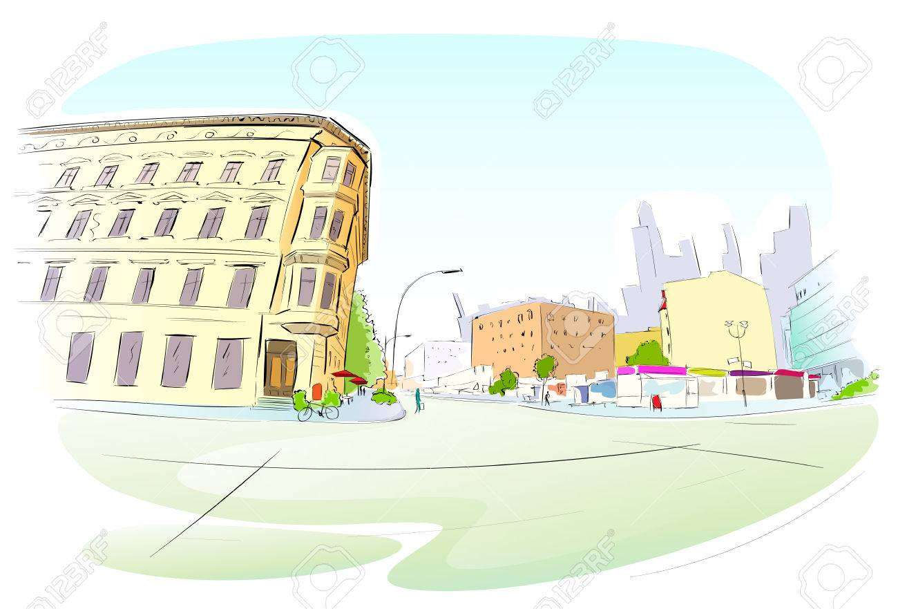 Street City Hand Draw Sketch Colorful Buildings Royalty Free