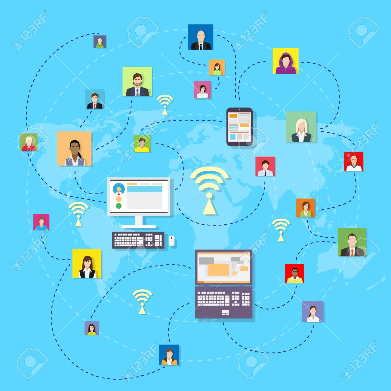 Social media communication world map concept internet network social media communication world map concept internet network connection people flat vector illustration stock vector gumiabroncs Image collections