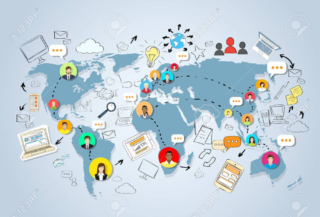 Social media communication world map concept internet network social media communication world map concept internet network connection people doodle hand draw sketch background vector gumiabroncs Gallery