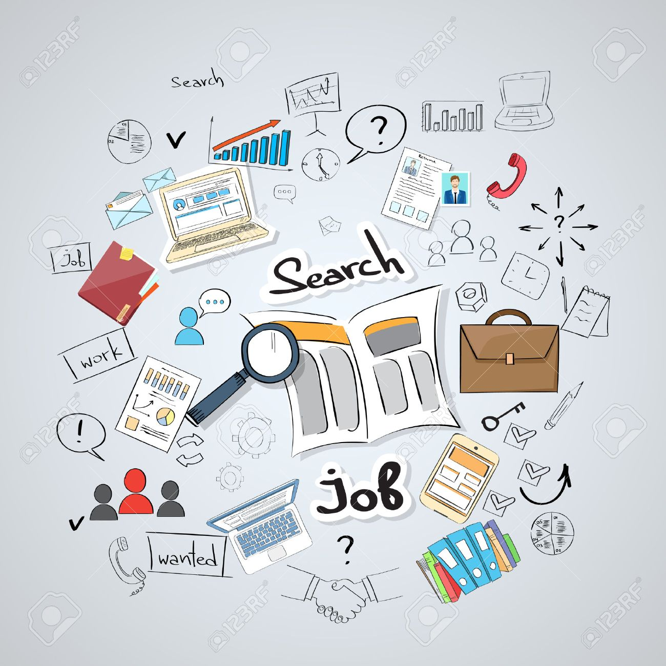 Business Searching Job Newspaper Classified Magnifying Glass Concept Doodle Hand Draw Sketch Background Vector Illustration - 47519823