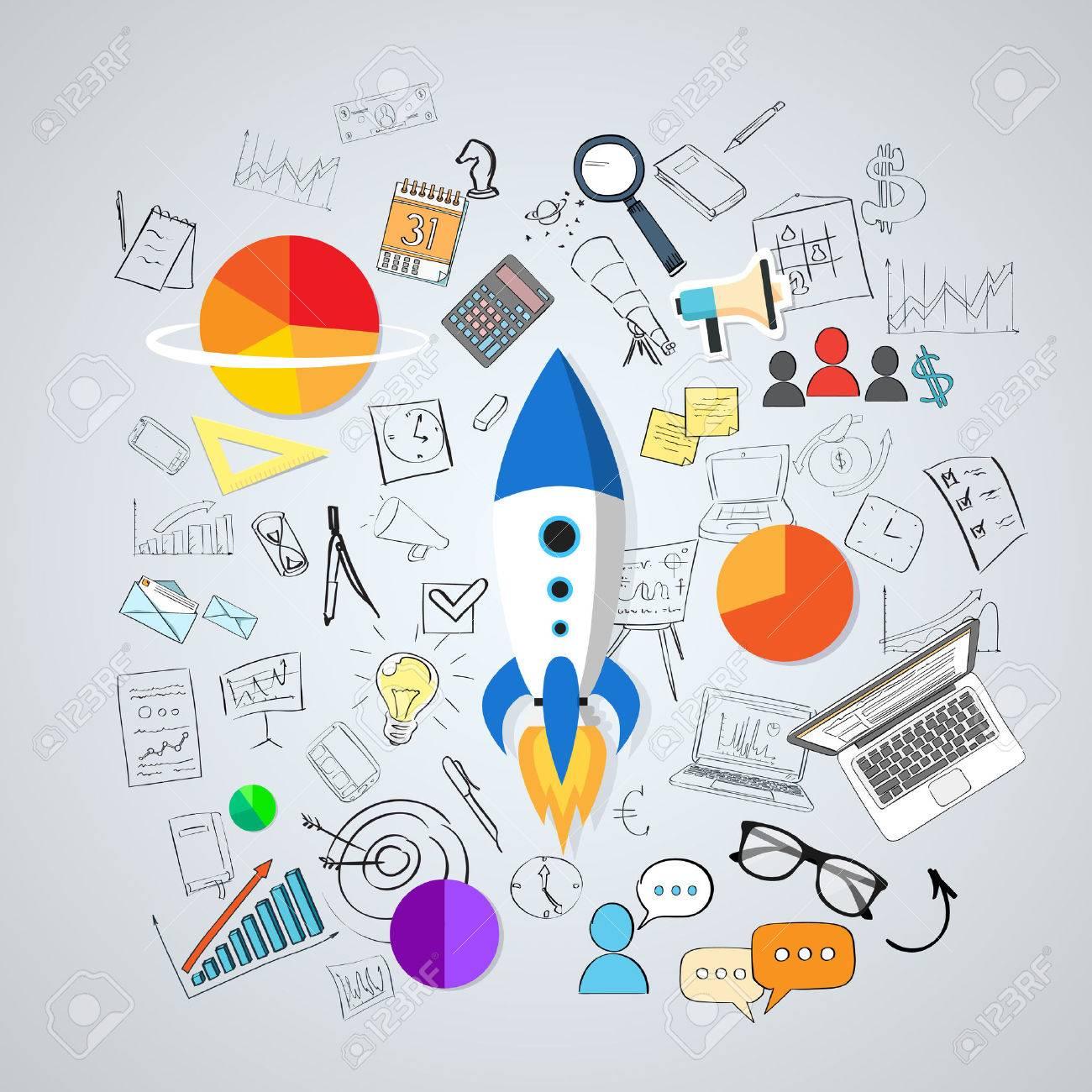 コンセプト新しいビジネスの計画の落書き手描きスケッチ背景ベクトル