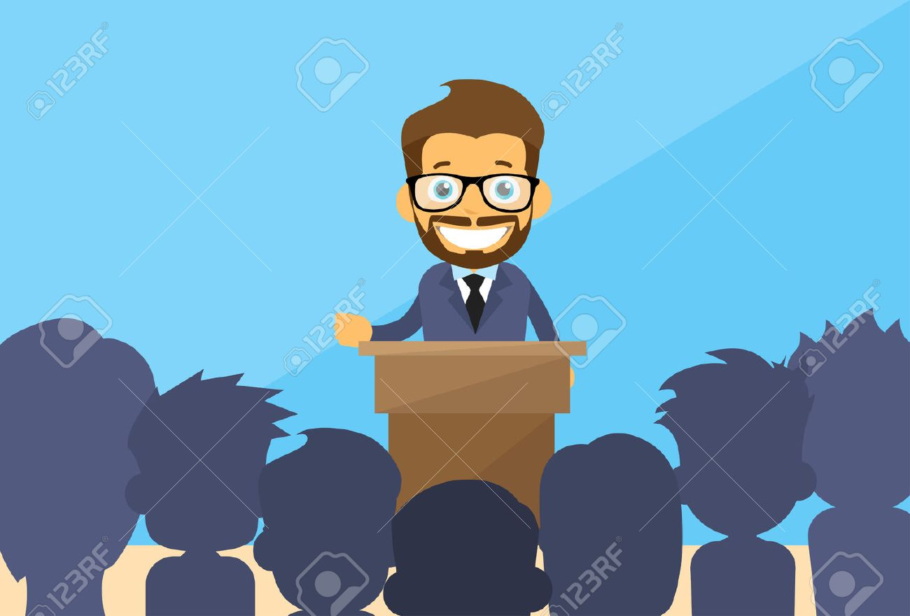 Business Man Tribune Speech People Group Silhouettes Conference Meeting Business Seminar Flat Vector Illustration - 47559457