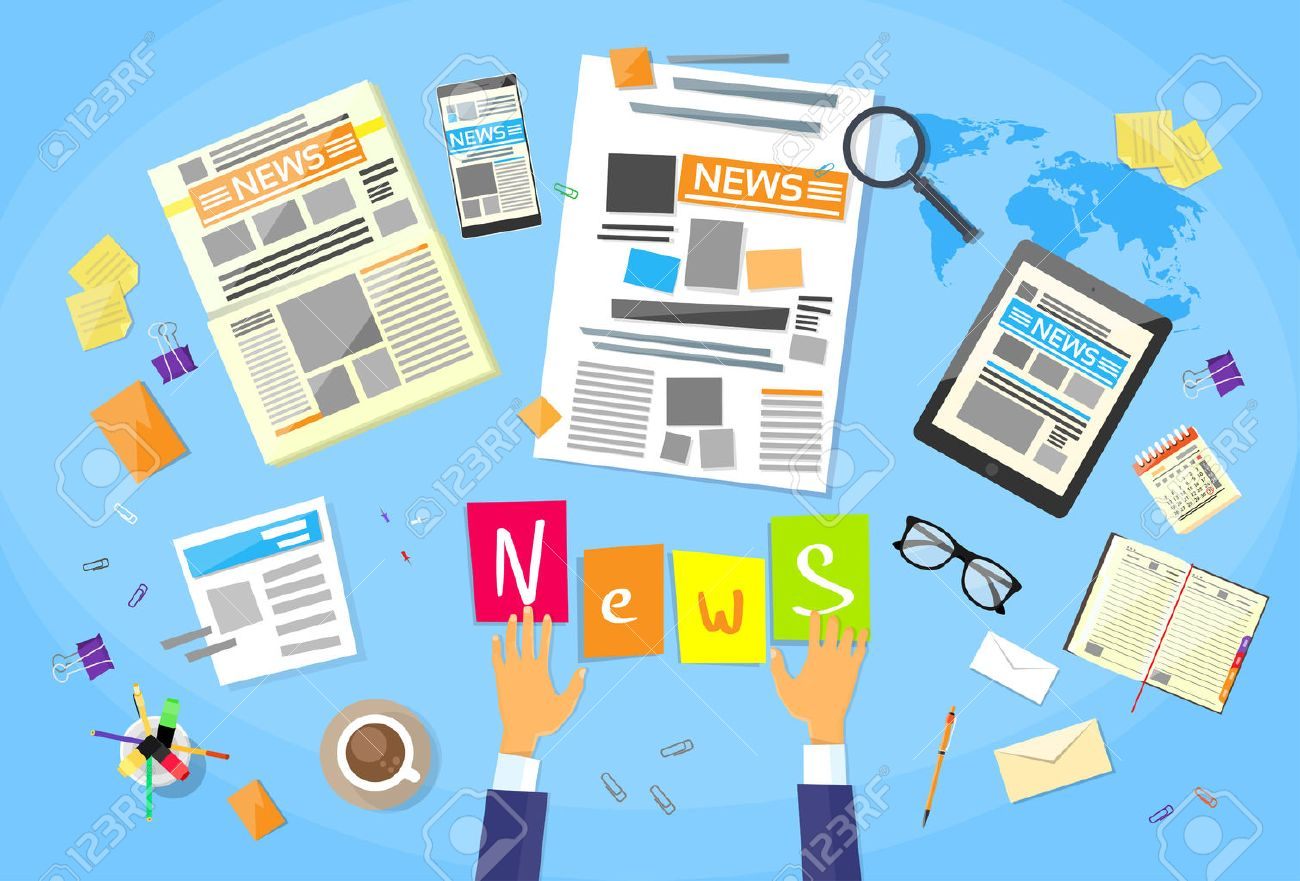 News Editor Desk Workspace, Concept Making Newspaper Creating Article Writing Journalists Flat Vector Illustration - 47559482