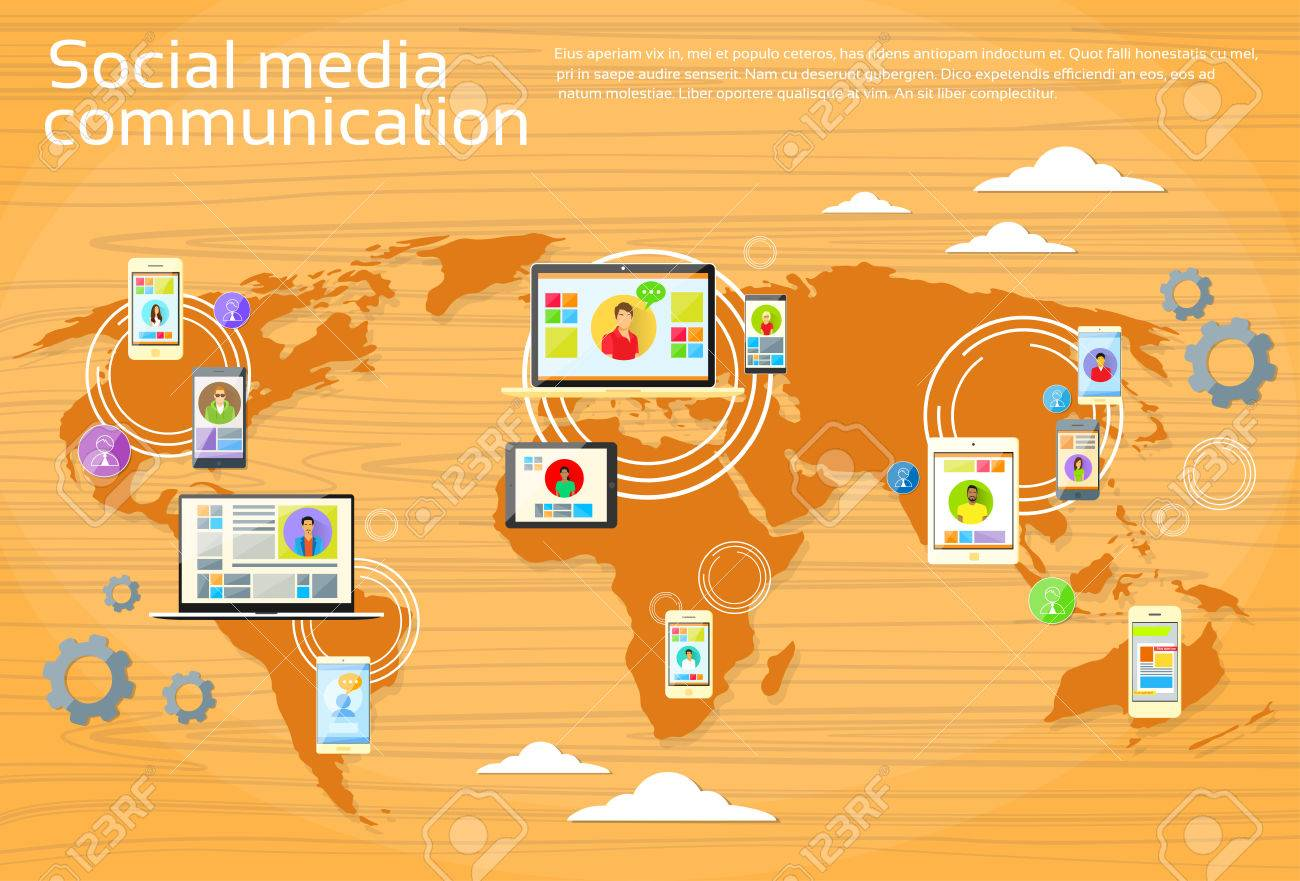 Social media global communication people world map digital device social media global communication people world map digital device tablet computer laptop phone concept flat vector gumiabroncs Gallery