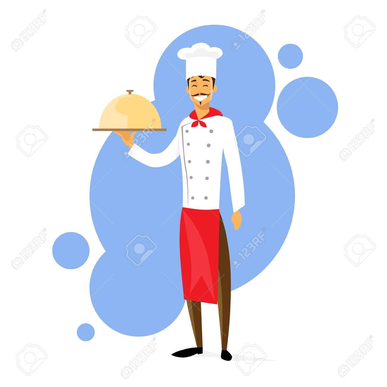 Historieta Del Cocinero Del Cocinero Con Dish Encuadre De Cuerpo ...