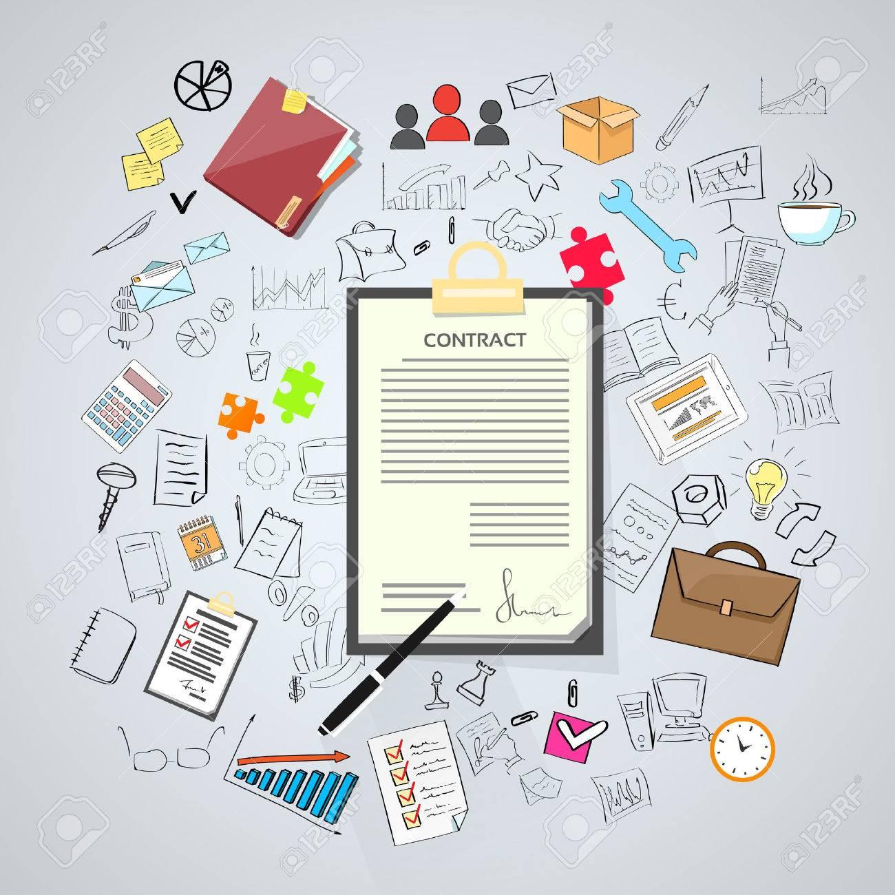 Contract Sign Up Papier Dokument Stift Unterschrift Buro